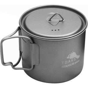 TOAKS 550ml Ultralight Titanium Camping Cooking Pot with Foldable Handles