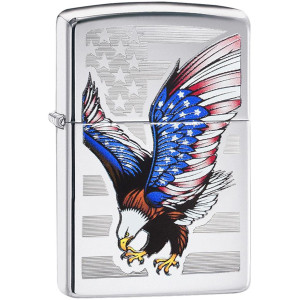 Zippo High Polished Chrome Eagle Flag Pocket Lighter