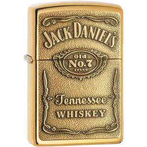 Zippo Jack Daniel's Label Brass Emblem Pocket Lighter