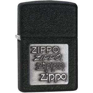Zippo Pewter Embossed Logo Black Crackle Pocket Lighter