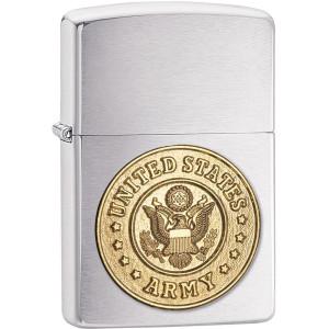 Zippo Brushed Chrome Army Emblem Pocket Lighter