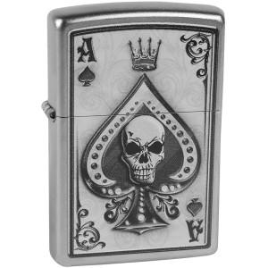 Zippo Ace Skull Satin Chrome Windproof Pocket Lighter