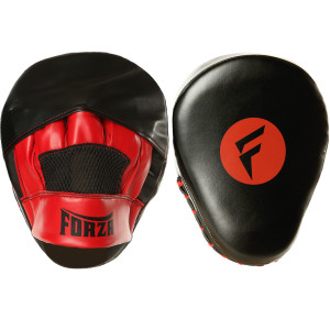 Forza Sports Vinyl Boxing and MMA Focus Mitts - Black/Red