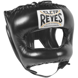 Cleto Reyes Leather Boxing Headgear with Nylon Face Bar - Black