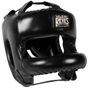 Cleto Reyes Redesigned Leather Boxing Headgear with Nylon Face Bar - Black