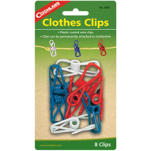 Coghlan's Clothes Clips (8 Pack), Plastic Coated Wire Clothesline Spring Clip