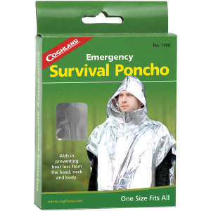 Coghlan's Emergency Survival Poncho Reduce Heat Loss, Camping Rescue Safety