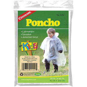 Coghlan's Poncho for Kids, Lightweight Reusable Rain Camping Weather Survival