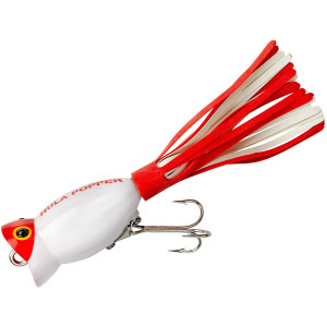 Arbogast Hula Popper 5/8 oz Fishing Lure - White/Red Head