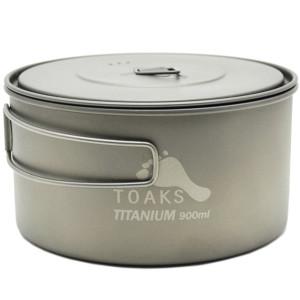 TOAKS Titanium 900ml D130 Ultralight Camping Cook Pot w/ Heat Resistant Handles