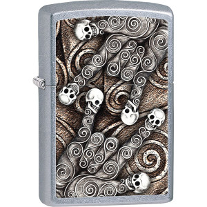 Zippo Rocker Skull Scroll Hands Street Chrome Pocket Lighter
