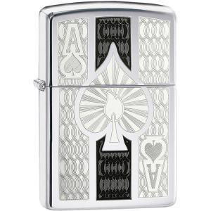 Zippo Ace of Spades High Polished Chrome Pocket Lighter