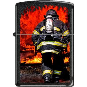 Zippo Firefighter Black Matte Pocket Lighter