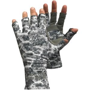 Glacier Glove Islamorada Fingerless Sun Gloves - Gray Water Camo