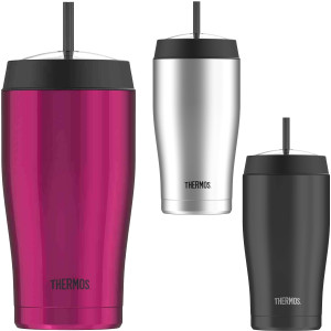 Vacuum Insulated Stainless Steel Cold Dome Water Bottle w// Straw Thermos 16 oz