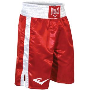 Everlast Standard Top of Knee Boxing Trunks - Red/White