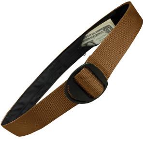 Bison Designs Crescent Black Buckle Money Belt - Coyote Brown