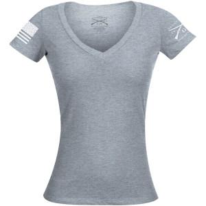 Grunt Style Women's Basic V-Neck T-Shirt - Dark Heather Gray