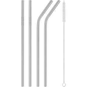 Forza Sports Reusable Stainless Steel Straws 4-Pack with Cleaning Brush