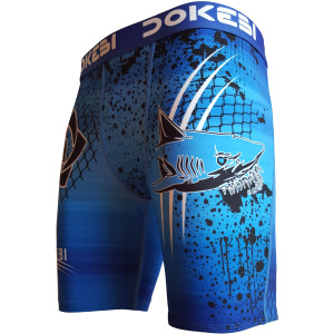 Dokebi Shark BJJ Compression Shorts - Blue