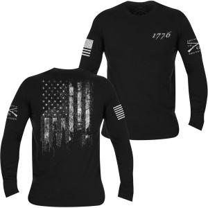 Grunt Style 1776 Flag Long Sleeve T-Shirt - Black