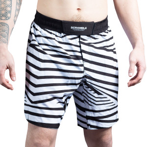 Scramble Dazzle Camo MMA Grappling Shorts - Black/White