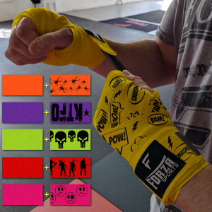 "Forza Sports 180"" Mexican Style Handwraps - Pattern & Matching Solid 2-Pack"