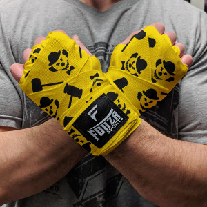 """Forza Sports 180"""" Mexican Style Boxing and MMA Handwraps - Clown Yellow"""