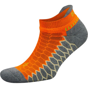 Balega Silver No Show Running Socks - Neon Orange/Gray Heather