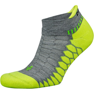 Balega Silver No Show Running Socks - Midgray/Neon Lime