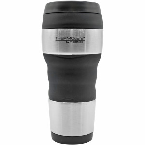 Thermos 16 oz. ThermoCafe Stainless Steel Tumbler w/ Grip- Stainless Steel/Black