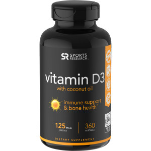 Sports Research Vitamin D3 Dietary Supplement - 360 Softgels