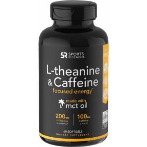 Sports Research L-Theanine & Caffeine Dietary Supplement - 60 Softgels