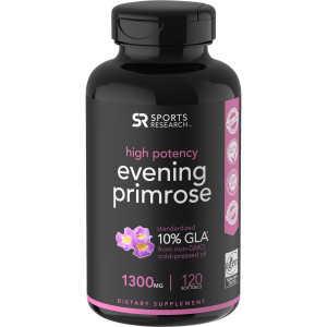 Sports Research Evening Primrose Oil Dietary Supplement - 120 Softgels