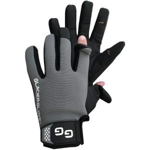 Glacier Glove Elite Angler Slit Finger Gloves - Black