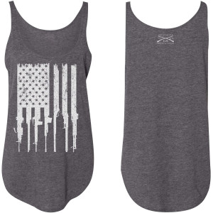 Grunt Style Women's Rifle Flag Flowy Tank Top - Charcoal