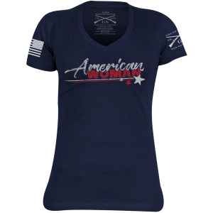 Grunt Style Women's American Woman V-Neck T-Shirt - Midnight Navy