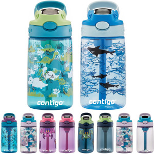 Contigo Kid's 14 oz. AutoSpout Straw Water Bottle with Easy-Clean Lid 2-Pack