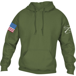 Grunt Style Full Color Flag Basic Pullover Hoodie - Military Green