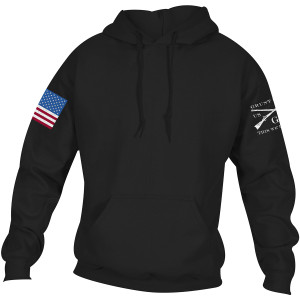 Grunt Style Full Color Flag Basic Pullover Hoodie - Black