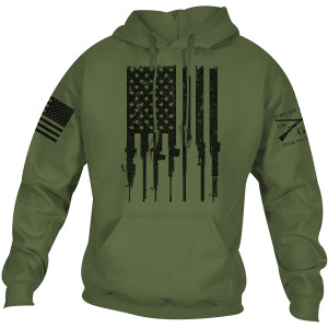 Grunt Style Rifle Flag 2.0 Pullover Hoodie - Military Green