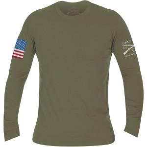 Grunt Style Full Color Flag Basic Long Sleeve T-Shirt - Military Green