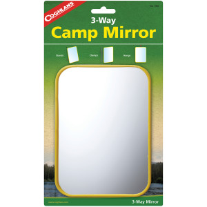 Coghlan's 3-Way Camp Mirror, Colorful Plastic, Clamps w/ Hook Signal Survival