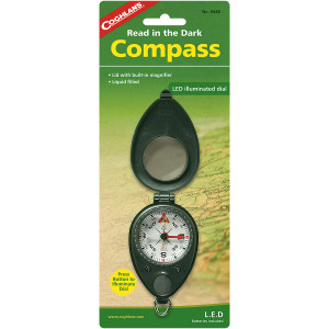 Coghlan's Compass with LED Light Illuminated w/ Built-in Magnifier, Folding Case