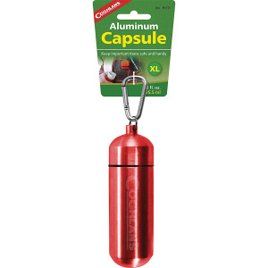 "Coghlan's Aluminum Capsule with Carabiner, Watertight Seal - X-Large 1.6 x 5in"""
