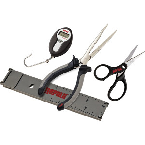 Rapala Fisherman's Tool Combo Pack (Scissors, Pliers, Ruler, Scale) - Black