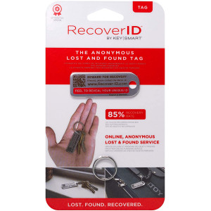 Keysmart Recover ID Mini Anonymous Lost & Found Tag - Stainless Steel