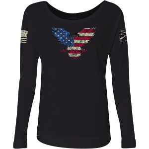 Grunt Style Women's Freagle French Terry Scoop Neck Long Sleeve T-Shirt - Black