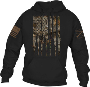 Grunt Style Realtree Edge Rifle Flag Pullover Hoodie - Black
