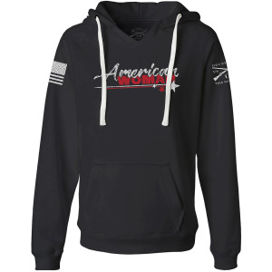 Grunt Style Women's American Woman 2.0 V-Neck Pullover Hoodie - Black